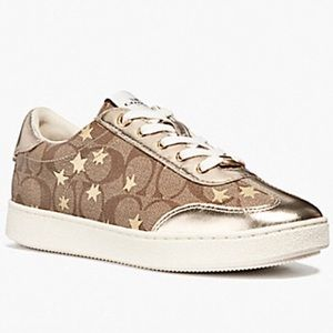 🆕🌟COACH Gold Star Leather Canvas Sneakers Shoes